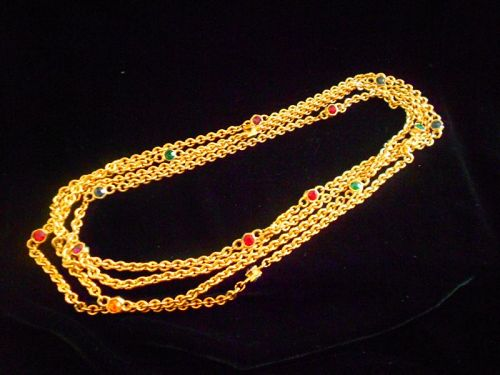 Unsigned Valentino Gold Plated Double Jewel Stations Long Chain