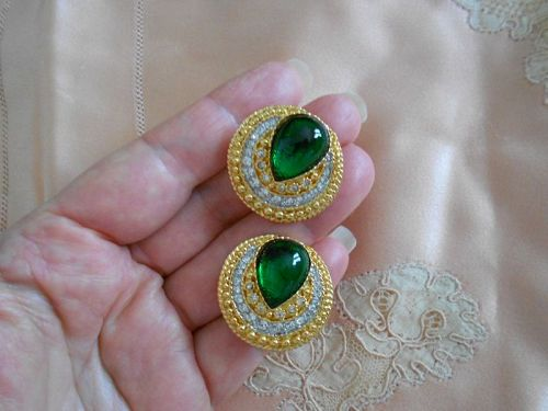 Nina Ricci 'Jewels of India' Gripoix type glass Clip Earrings