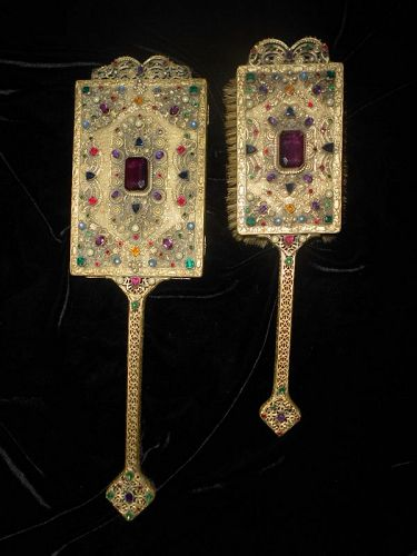 *** SOLD ** Regal Antique Glass Jeweled Mirror and Brush Set