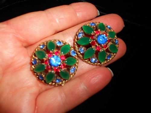 Vintage Jewels of India Jade Cabochon Glass MCM Earrings