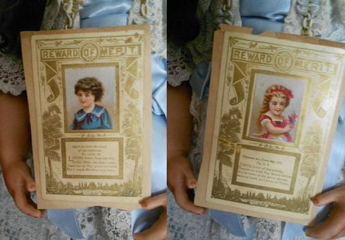 Antique Lithograph 'Reward of Merit' Cards of Little Girl and Boy