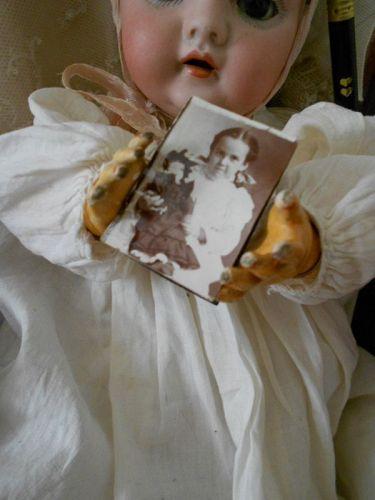 Antique Gem Photo of Little Girl holding Doll