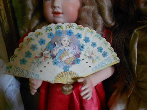 ** SALE PENDING *** Antique French Lithograph Fan of Girl holding Doll