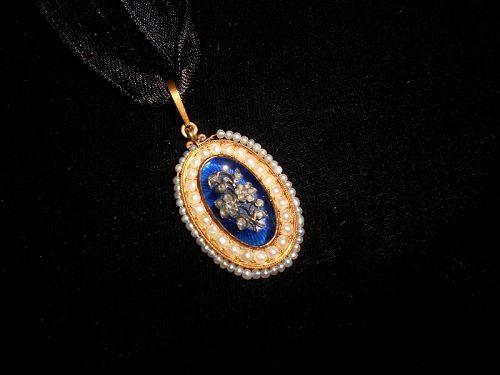 Georgian Sentimental Diamond, Gold and Pearl Pendant