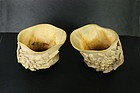 China Republican ivory Libation Cups  pair