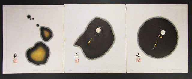 "Japan  Haku Maki drop series 1980 Print ""Triptych"""