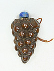 china old wood snuff bottle grapes  republican toggle