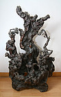 china antique large root carving  qing fujian stand