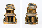 """china toggle temple """"pair"""" OLD"""