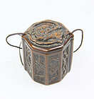 china  Old boxwood  octagonal box
