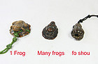 china  qing toggles  wood  frog and fou shou