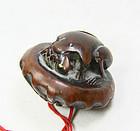 china old toggle  frog and fish