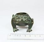 china qing bronze brushwasher frog