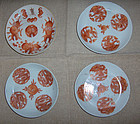 china porcelain  late Qing  4 dishs dragon boat special