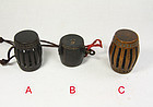 china old drum toggles  wood and ivory