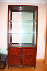 china old curio cabinet  pair boxwoood and burl