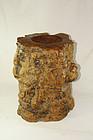 C hina old scrollpot  wood zhuan tong