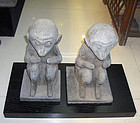 china  old monkey pair pottery 33 cm tall