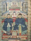 china  old scroll painting  man and worman silk