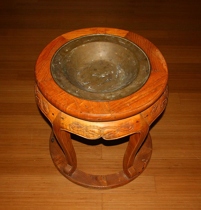 China old wooden carving brazier stand