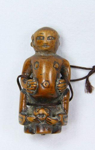 China old wooden toggle immortal