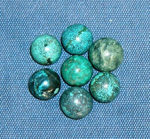 China round turquoise beads -  7 pieces