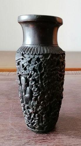 China.  Black carved vase.