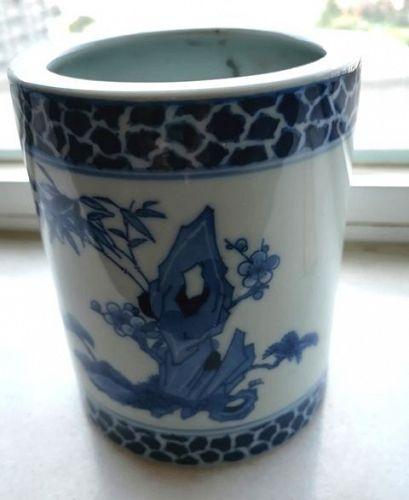 China.  Blue and white brushpot.