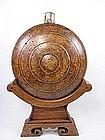 China Antique Burl Flask Display Stand Mongol-Tibetan