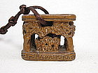 "China Antique Qing Boxwood Great Toggle ""Folk Art"""