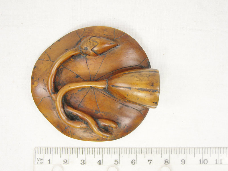China Antique 2 Toggles Qing Boxwood Frogs Lotus Large