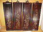 China Antique Screen Four Panels Lacquer Wood 19th C