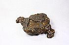China Ming Frog Tripod Stand Calligraphy