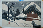 Kiyoshi SAITO 1964  Japanese Artist Winter Scene yx
