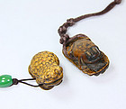 China  Antique Frog Toggles  wood