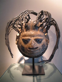 a gelede mask with fantastic headress,yoruba ,nigeria