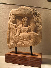 a marble stela with cybèle and attis