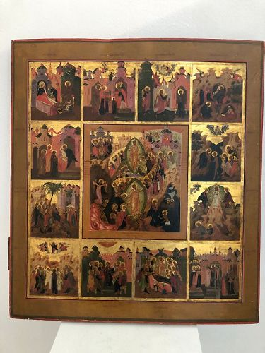 russian icon,;scenes of christ life ,19th