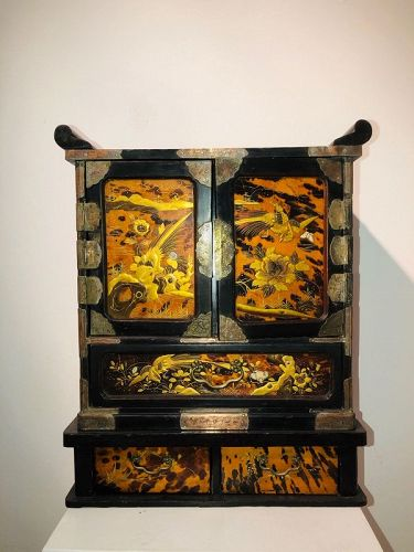 a meiji cabinet ,tortoiseshell lacquer,japan