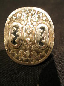 a big  kazakh silver ring