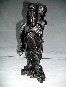 CARVED WOODEN FIGURE OF GUANYIN