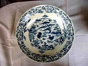 CHINESE B/W PLATTER MING DYNASTY