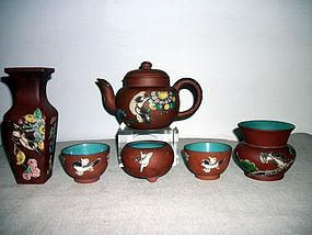 A GROUP OF YIXING ENAMEL POTTERY