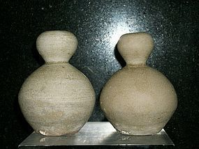 A PAIR OF CHINESE YUE DOUBLE GOURD JARS
