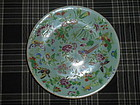 CHINESE CELADON FAMILLE ROSE PLATE