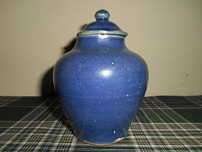 MING BLUE-GLAZED JAR