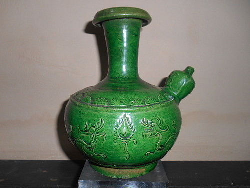 CHINESE GREEN-GLAZED EWER