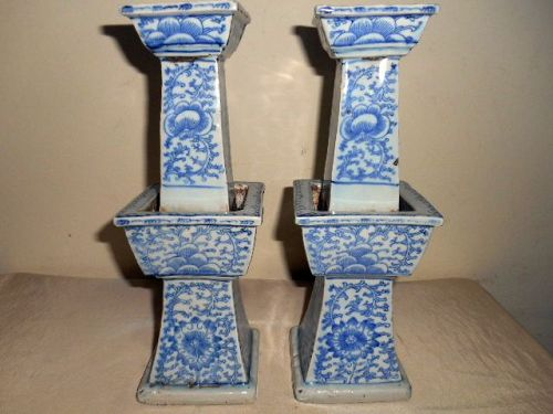 A PAIR OF CHINESE  BLUE & WHITE CANDLESTICKS