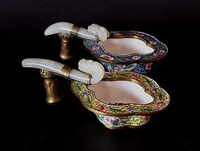 Chinese enamelled cups with jade belt hook handles