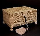 Chinese ivory sewing box mounted with fantastic panels